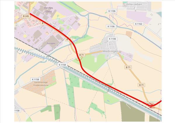 Grafik: Der künftige Verlauf der B71n (Quelle: OpenStreetMap.org)