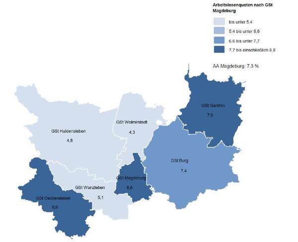 Die aktuelle Grafik der Arbeitsagentur Magdeburg mit den Arbeitslosenquoten der einzelnen Geschäftsstellenbereiche. Quelle: Arbeitsagentur Magdeburg